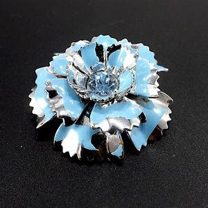 Vintage Blue Silver Flower Enamel Metal Brooch